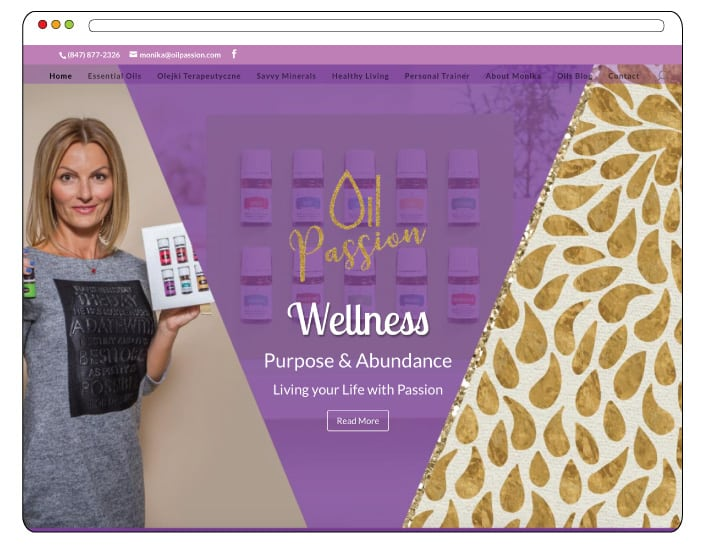 Oil Passion Web Design, Branding, Essential Oils Website