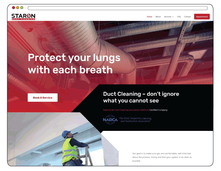 Duct Cleaning Company Website Design